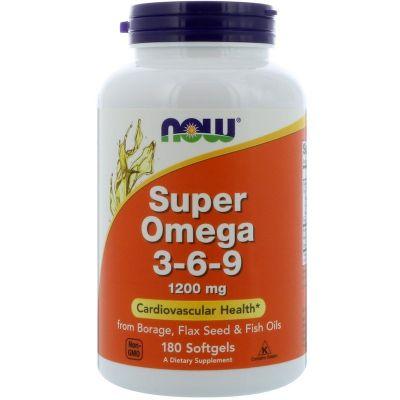 Супер Омега 3-6-9 Now Foods капсули 180 шт